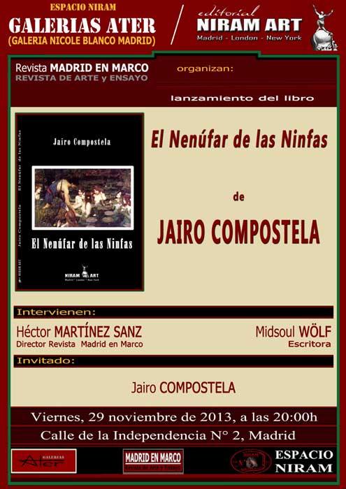 """Lanzamiento del libro """"El nenúfar de las ninfas"""" de Jairo Compostela"""